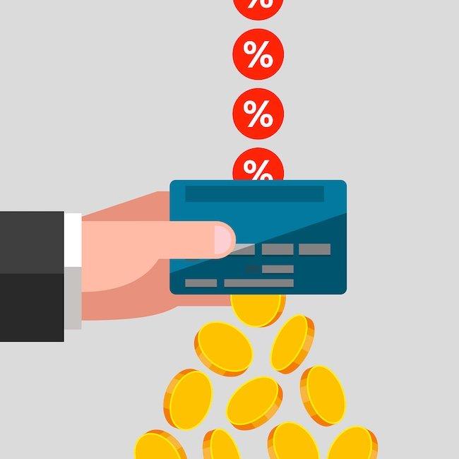 ציור של אחוזים ושקלים נופלים מכרטיס אשראי