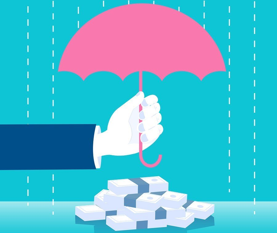 איור של מטריה שומרת על שטרות בגשם